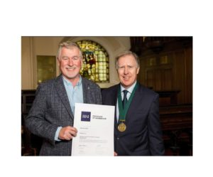 Bernard Gilna receiving Fellow of RIAI